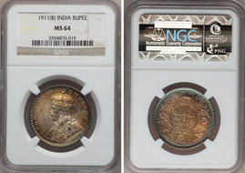 India George V Ru 1911 B Km524 Ms64 Ngc With Orange And Green Toning Estimate 200 250 Usd