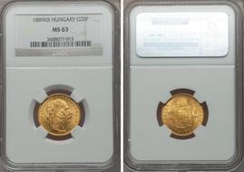Hungary Franz Joseph Gold 20 Francs 1889 KB KM467 MS63 NGC Also Valued At 8 Forint Kremnitz Mint AGW 01867