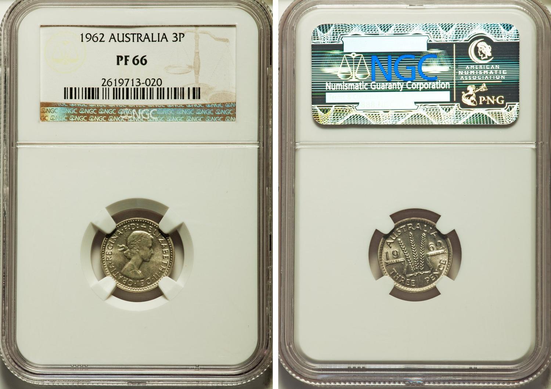 Australia Elizabeth Ii Four Coin Certified Proof Set 1962 Km Ps26 2 016 Sets Were Produced 3 Pence 6