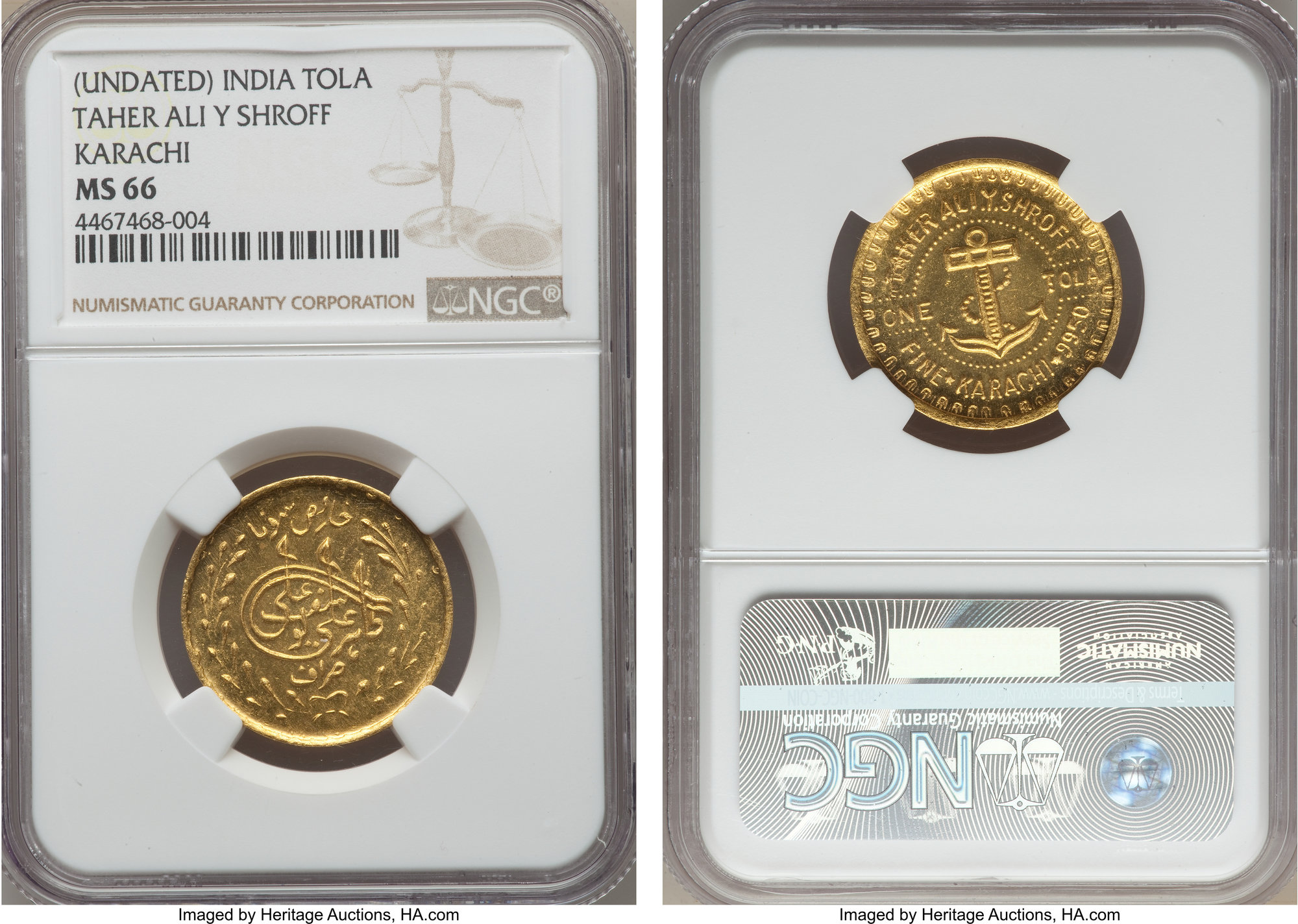 Numisbids Heritage World Coin Auctions Cce Signature Sale 3064 Online Sess Lot 33570 Pakistan Taher Ali Y Shroff Gold Tola Nd 1940 S Ms66