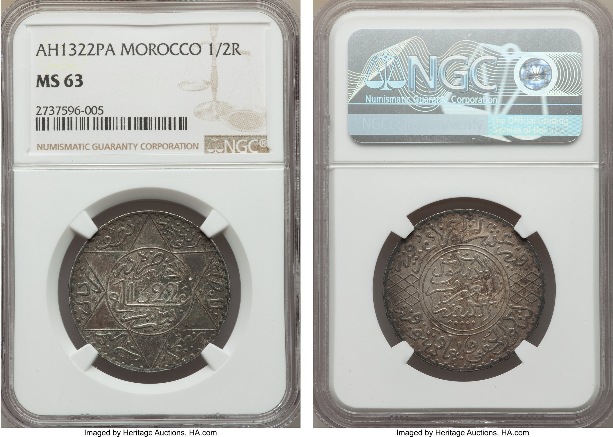 NumisBids Heritage World Coin Auctions Long Beach Signature Sale 3067 Lot 34787 Morocco Abd Al Aziz 1 2 Rial AH 1322 1904 5 Pa MS63 NGC