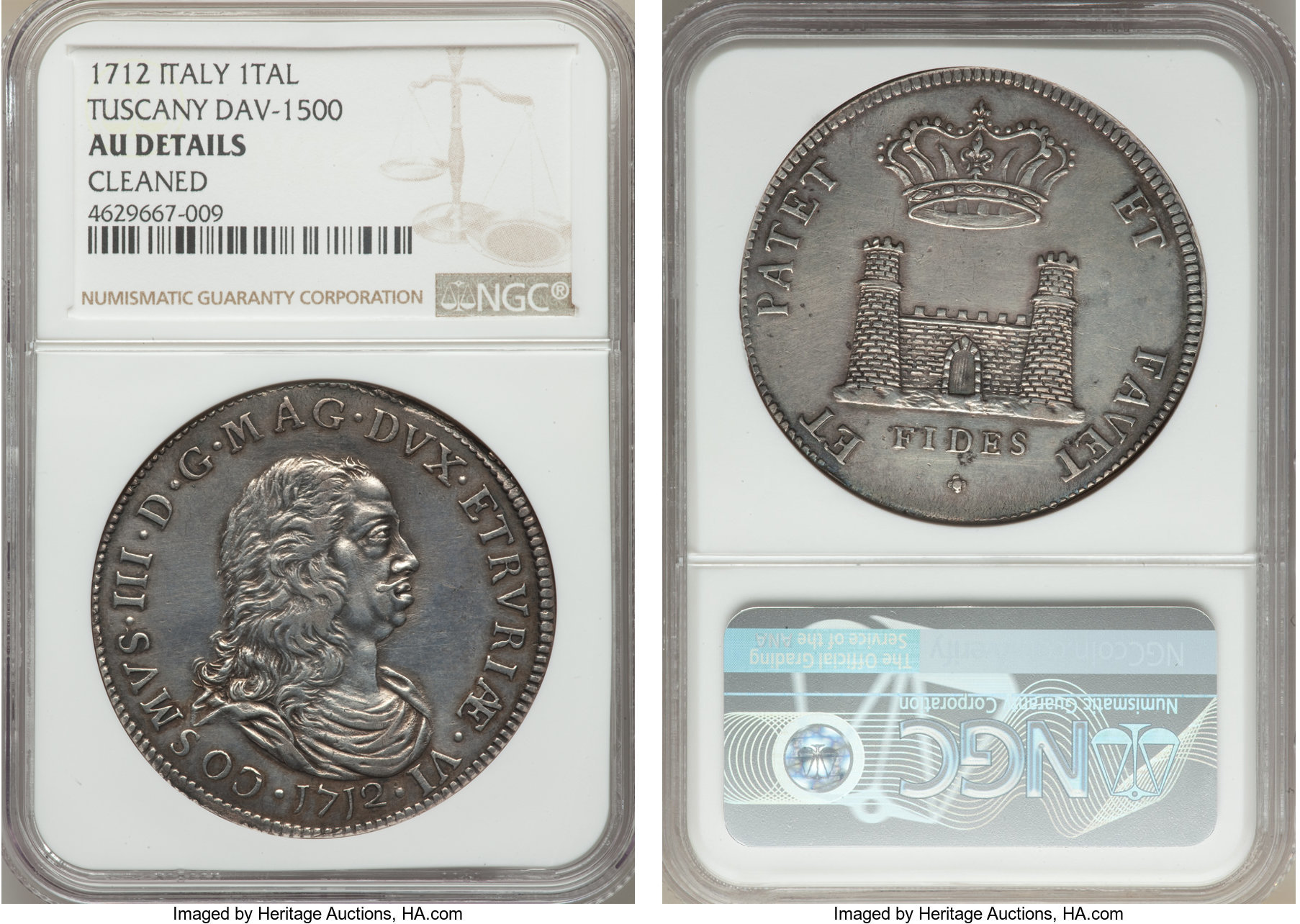 Cosimo III Tallero 1712 AU Details (Cleaned) NGC, Dav-1500. Impressively  struck, with boldly defined.