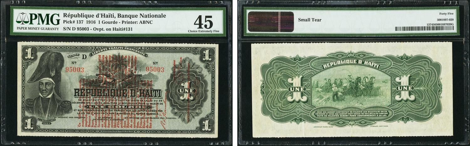 World Currency Haiti Banque Nationale 1 Gourde 1916 Pick 137 One Of The Rarest Designs Haitian Paper Money
