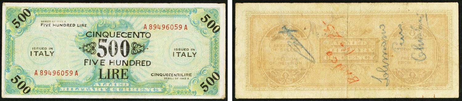 World Currency Italy Allied Military Raised 50 500 Lire 1943a Pick M20a Notes Were Not Confined To