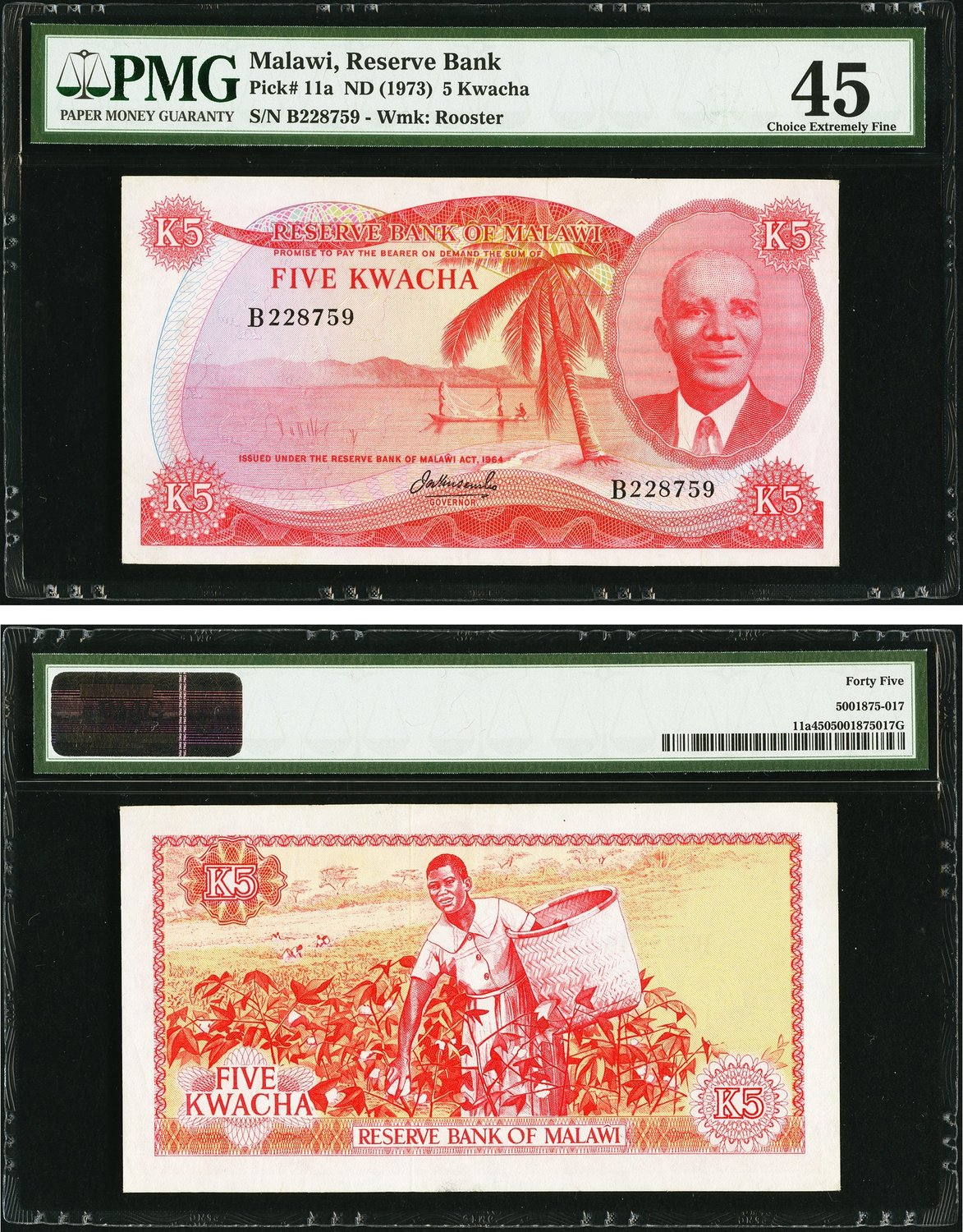 World Currency Malawi Reserve Bank Of 5 Kwacha Nd 1973 Pick 11a A Cotton Picker Is Featured On The Back