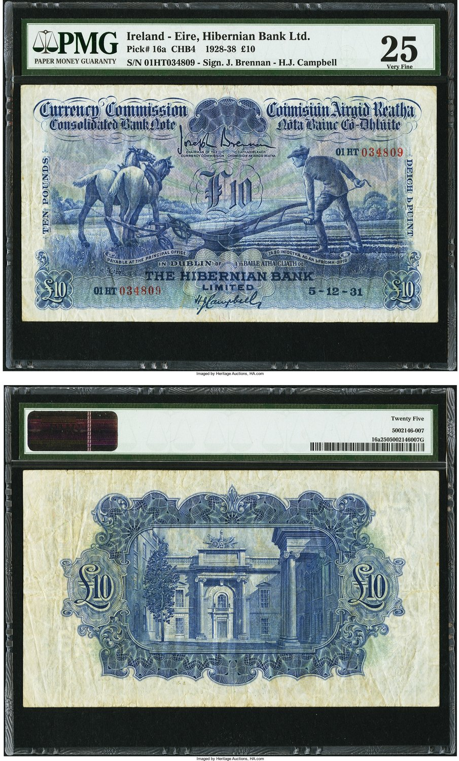 World Currency Ireland Commission The Hibernian Bank 10 5 12 1931 Pick 16a All Blue Intaglio Colors Are