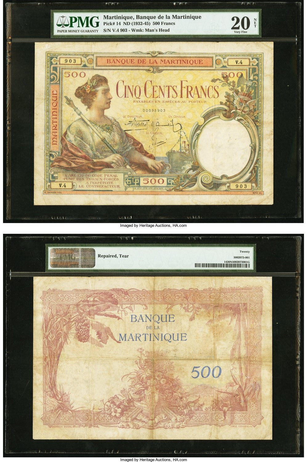 Numisbids Heritage World Coin Auctions Csns Signature Currency 3554 Lot 28413 Martinique Banque De La 500 Francs Nd