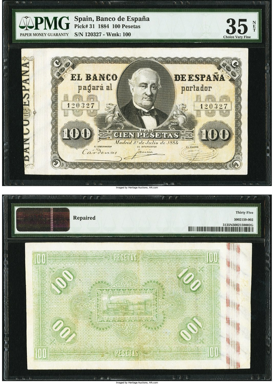 World Currency Spain Banco De Espana 100 Pesetas 1 7 1884 Pick 31 This Note From The Second Issue Of