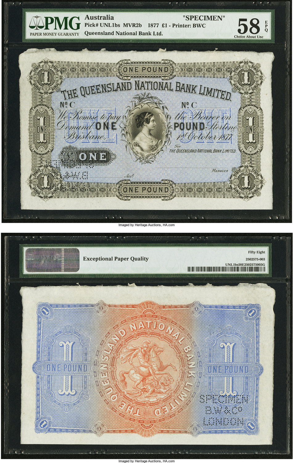 World Currency Australia Queensland National Bank Limited 1 10 1877 Renniks Mvr2b Specimen Was Home To
