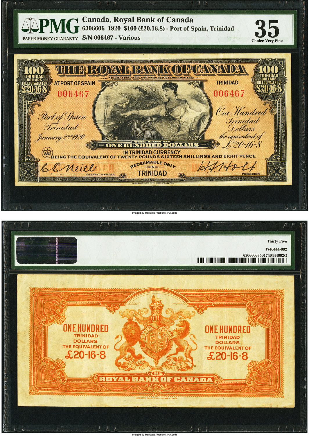 Canadian Currency Port Of Spain Trinidad Royal Bank Canada 100 January 2 1920 Ch 630 66 06 A Reclining