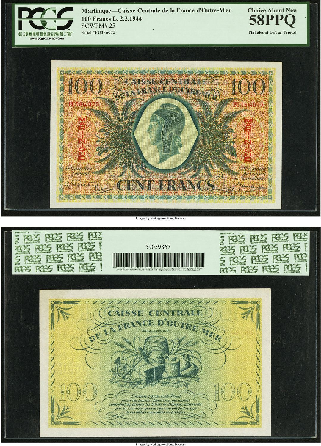 World Currency Martinique Caisse Centrale De La France D Outre Mer 100 Francs 2 1944 Pick 25 Notes Issued For
