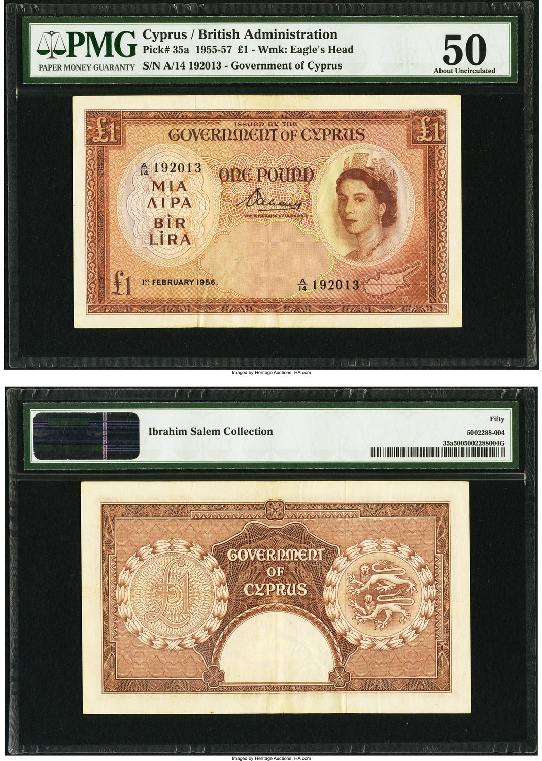 World Currency Cyprus Government Of 1 2 1956 Pick 35a Each Subsequent Date The 1950s Notes Were