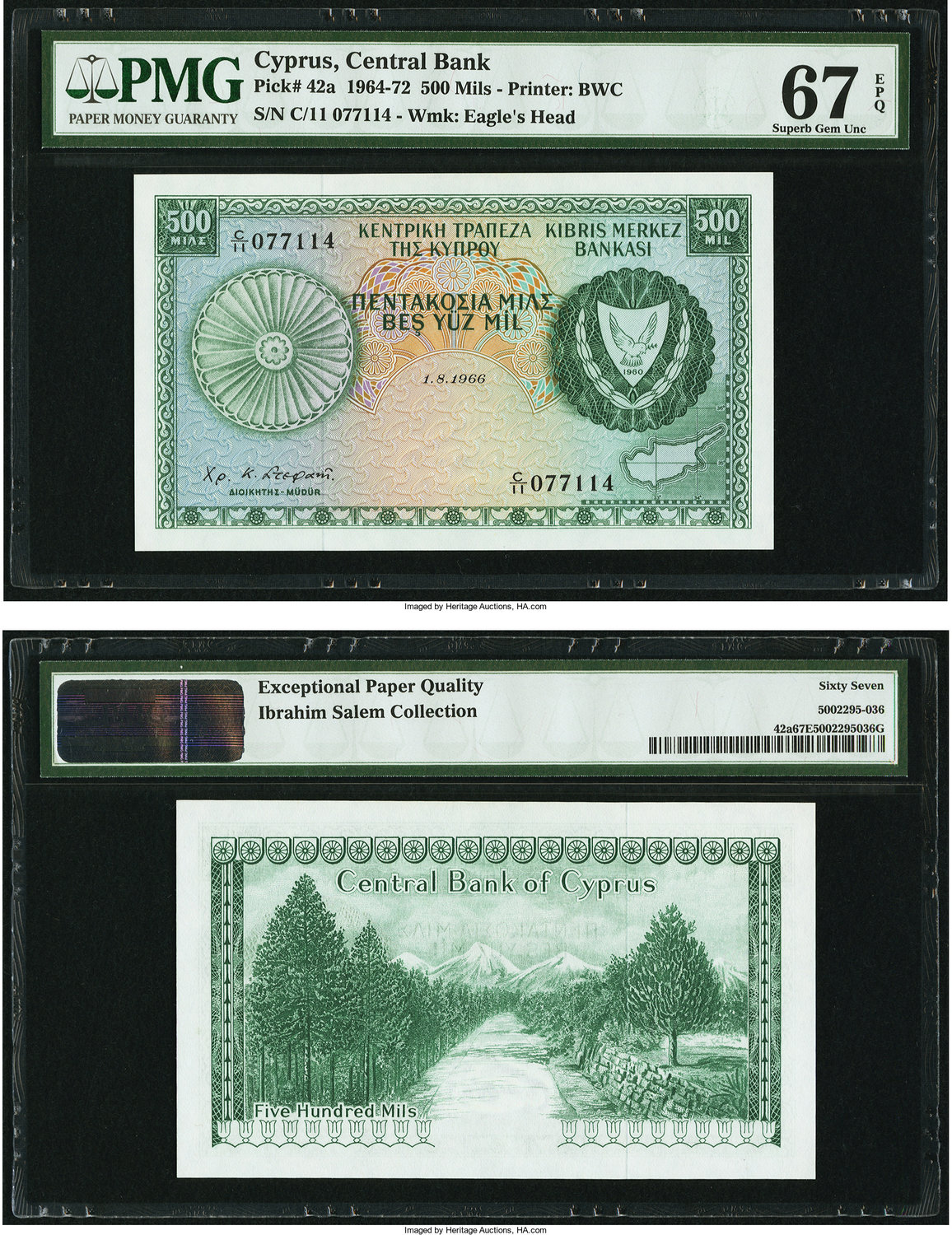 World Currency Cyprus Central Bank Of 500 Mils 1 8 1966 Pick 42a Pmg Has Graded This Note Superb Gem Unc 67