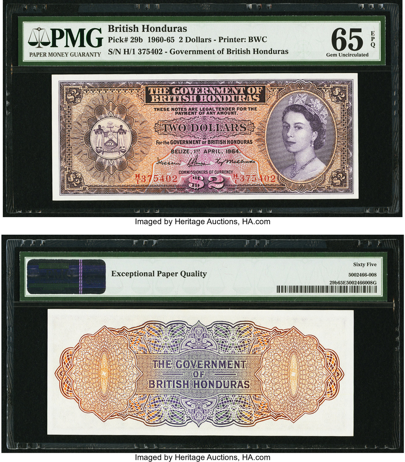 World Currency British Honduras Government Of 2 1 4 1964 Pick 29b A High Grade Example This