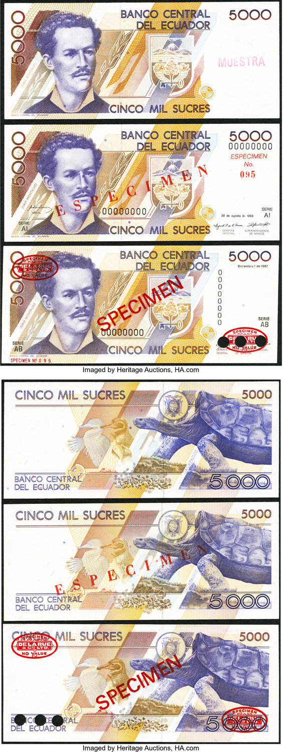 World Currency Ecuador Banco Central Del 5000 Sucres Pick Unlisted Specimens Three Examples 1 12 1987
