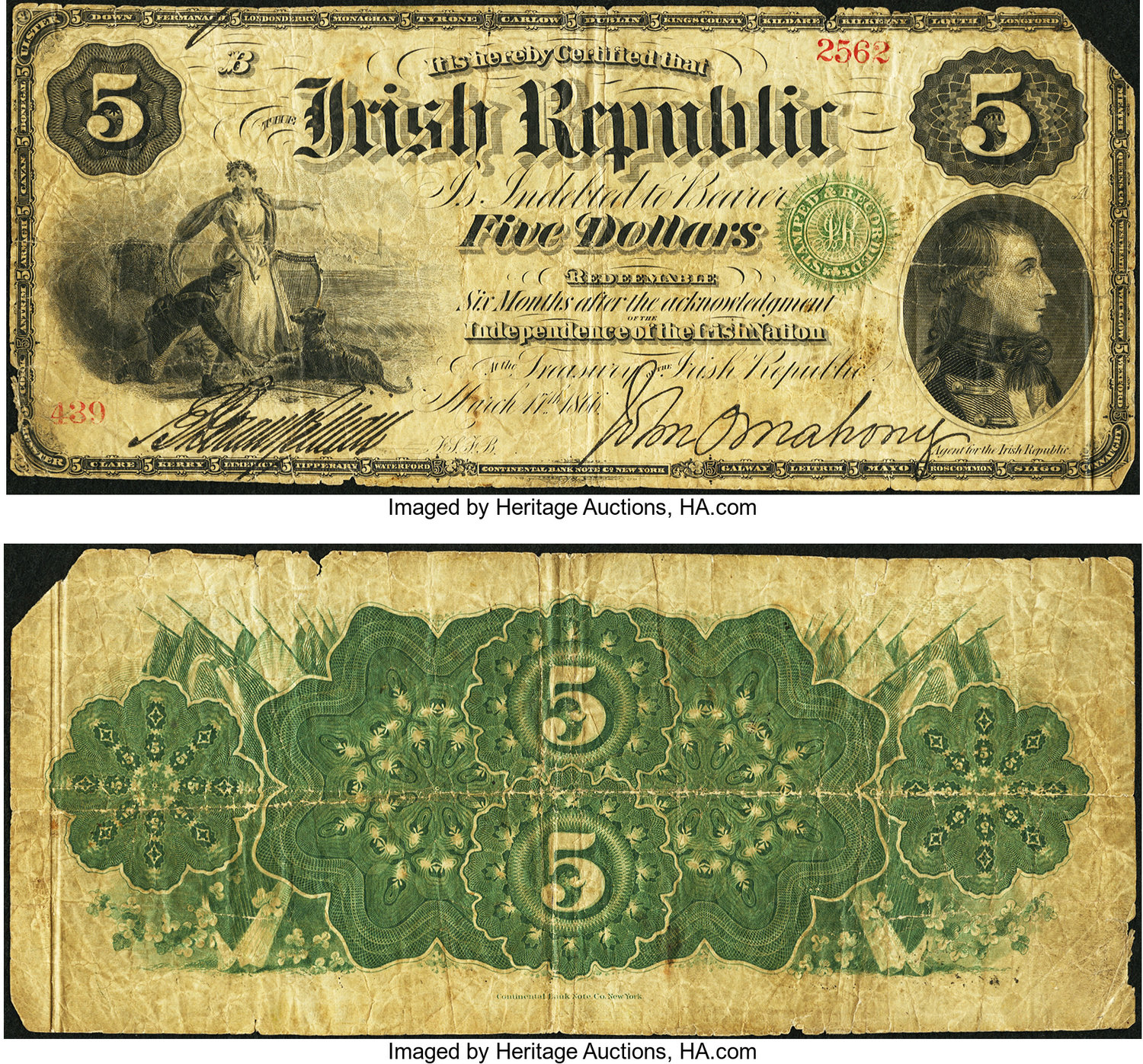 World Currency Ireland Irish Republic 5 3 17 1866 Pick S101 This National Promissory Bond Is Missing Its Upper