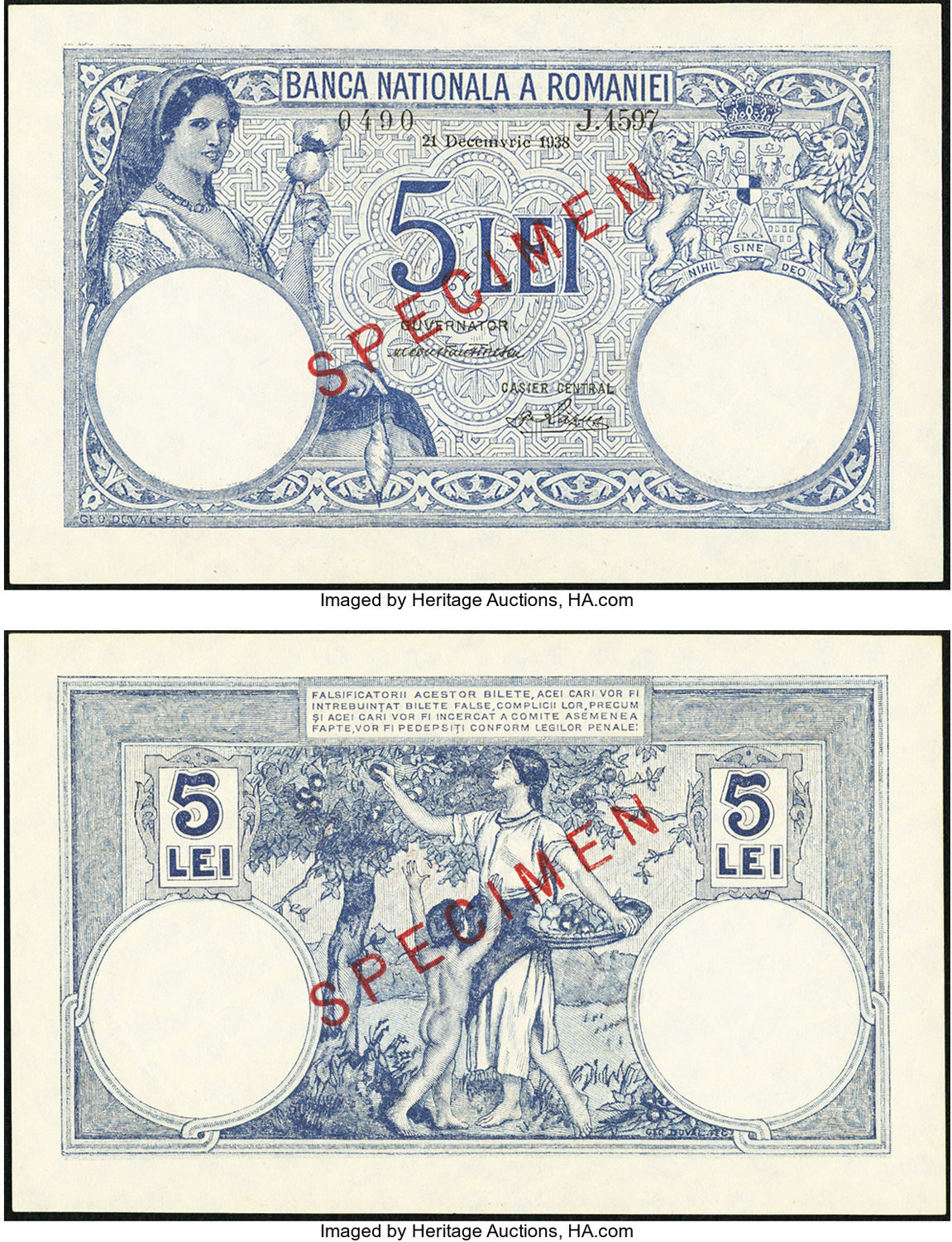 World Currency Romania Banca Nationala A Romaniei 5 Lei 21 12 1938 Pick 40s Specimen Issued Just Before War 2