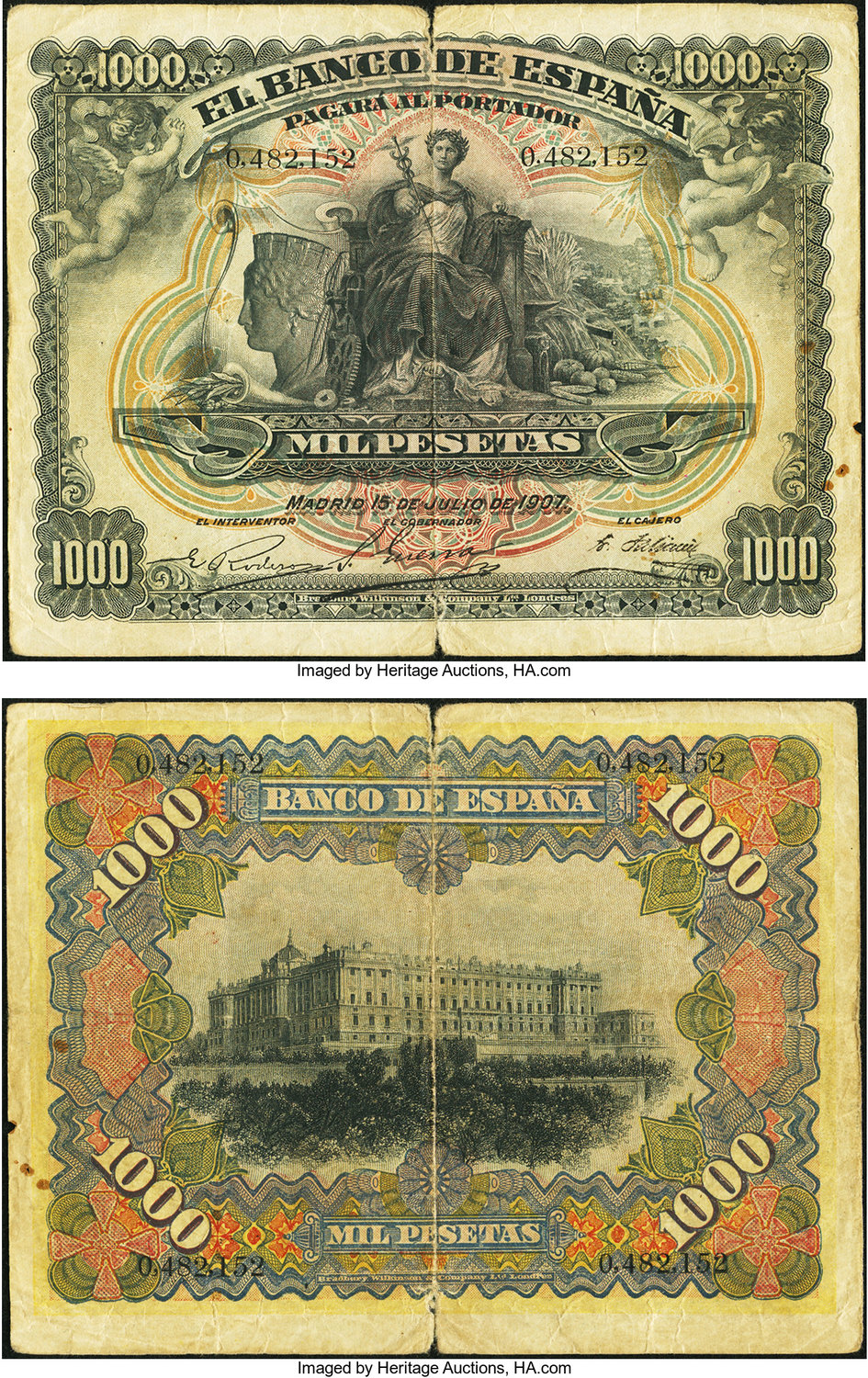 World Currency Spain Banco De Espana 1000 Pesetas 15 7 1907 Pick 66 There Are Splits Along The Center Fold As Well