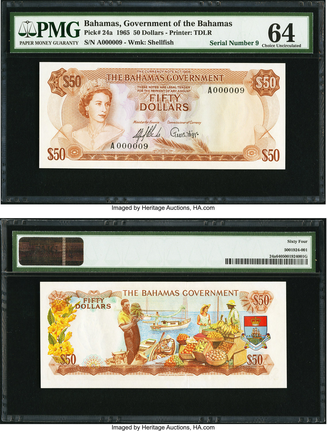 World Currency Bahamas Government 50 1965 Pick 24a Low Serial Number 9 A Lovely Well Preserved Example Of This