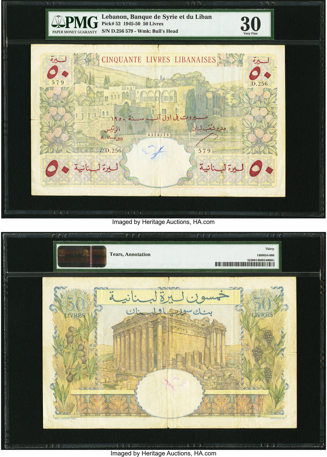 World Currency Lebanon Banque Du Syrie Et Liban 50 Livres 1945 Pick 52 Some Tears And An Annotation Are Noticed