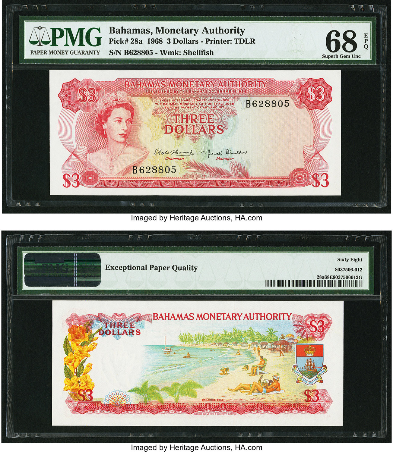 World Currency Bahamas Monetary Authority 3 1968 Pick 28a The Highest Graded At Pmg Superb Gem Unc 68 Epq