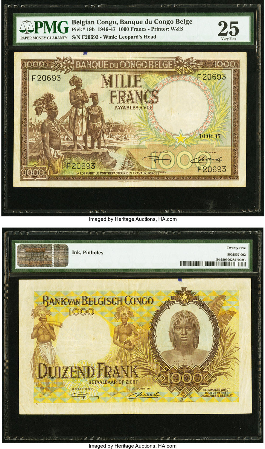World Currency Belgian Congo Banque Du Belge 1000 Francs 10 4 47 Pick 19b Three Native Fishermen Ear On The