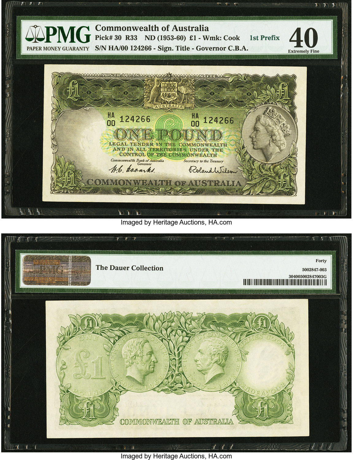 World Currency Australia Commonwealth Of 1 Nd 1953 60 Pick 30 R33 The First Prefix Ha00 Is Seen On This
