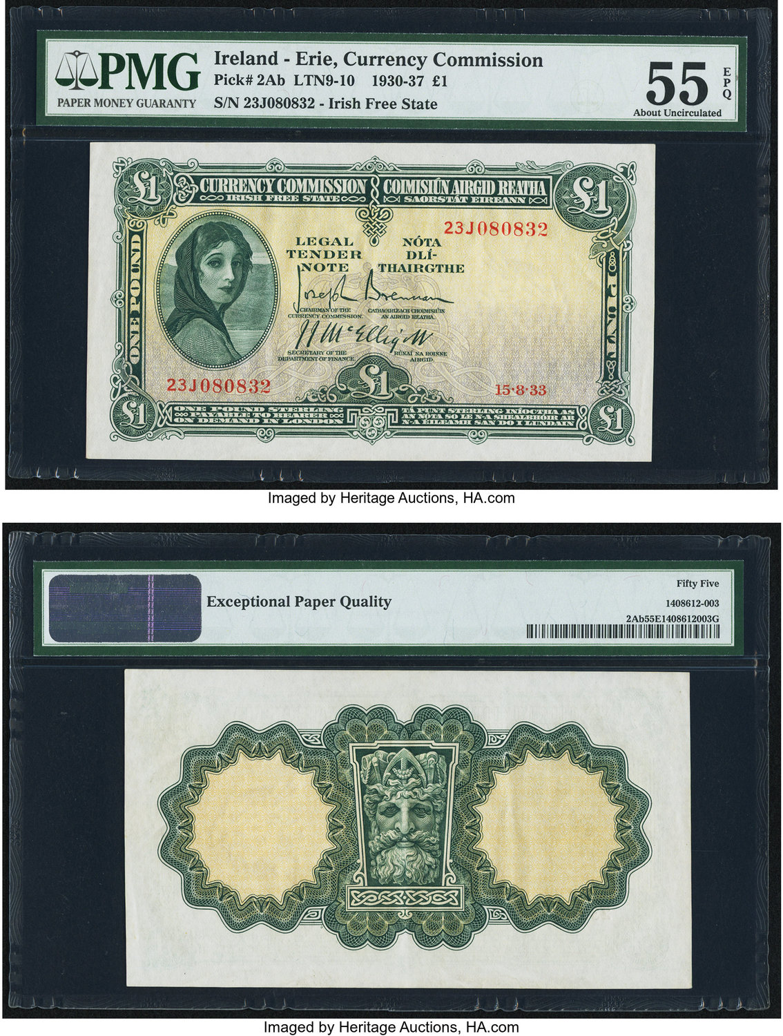 World Currency Ireland Commission 1 15 8 33 Pick 2ab Great Color Is Retained By This Lightly Handled Irish