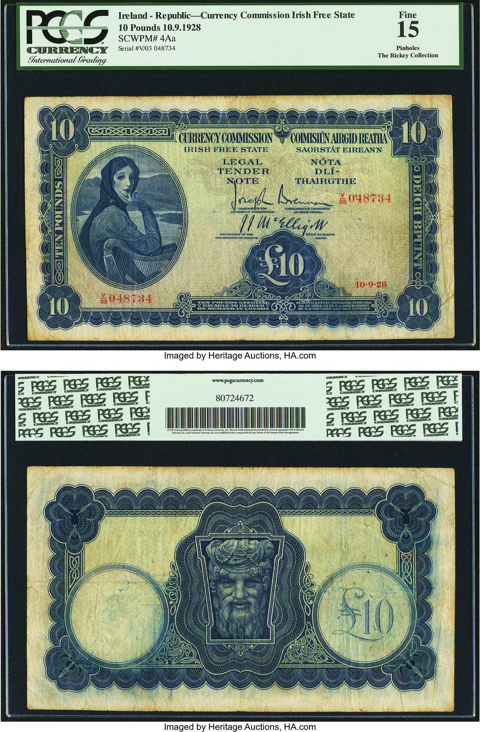 World Currency Ireland Commission Irish Free State 10 9 28 Pick 4aa This Large Format Blue And Green