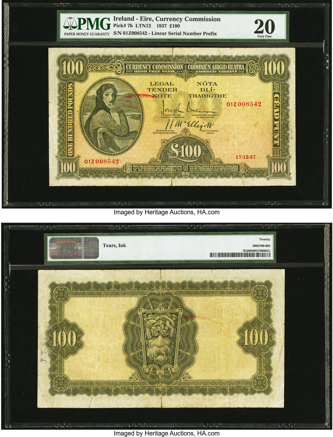 World Currency Ireland Commission 100 Pounds 17 12 1937 Pick 7b An Iconic Irish Issue Grandly Sized And