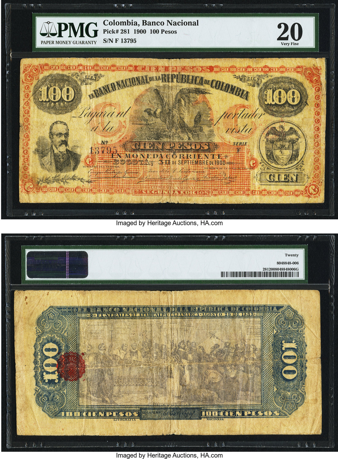 World Currency Colombia Banco Nacional 100 Pesos 30 9 1900 Pick 281 A Hastily And Locally Printed Example From The