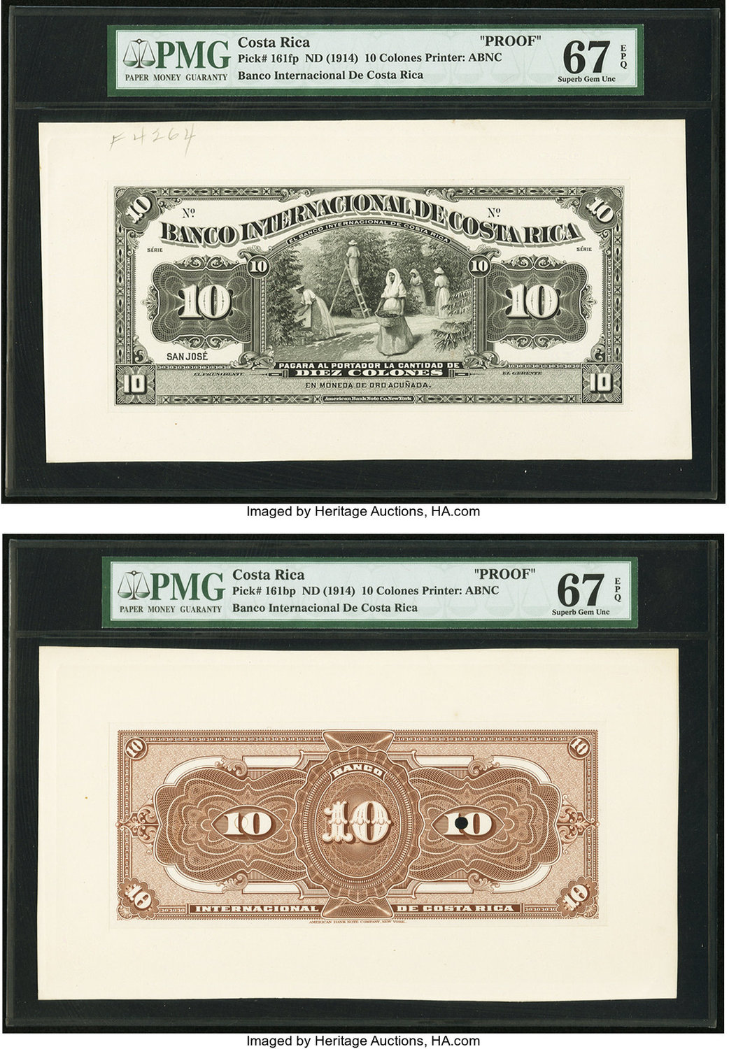 World Currency Costa Rica Banco Internacional De 10 Colones Nd 1914 Pick 161p Face And Back Proofs A