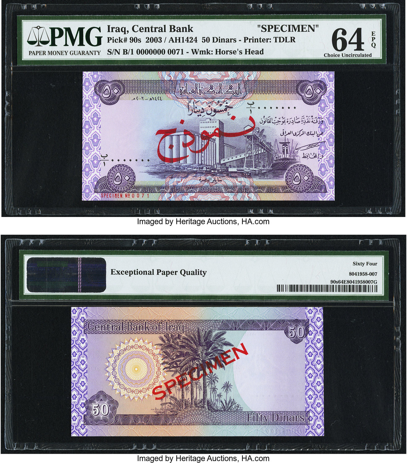 World Currency Iraq Central Bank Of 50 Dinars 2003 Ah1424 Pick 90s Specimen An Attractive Example