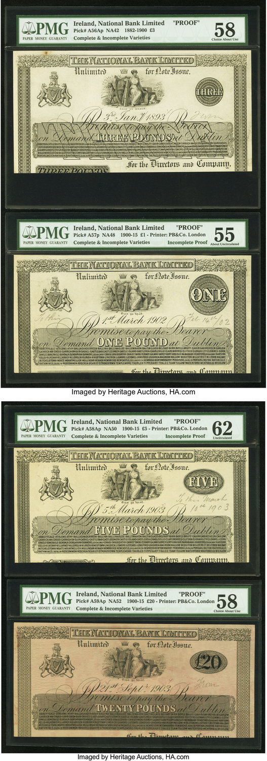 Numisbids Heritage World Coin Auctions Long Beach Signature Cash Pb 20000 Currency Ireland National Bank Limited Incomplete Proofs Pmg Graded 3 311893 Pick A56ap B C Na42 Choice