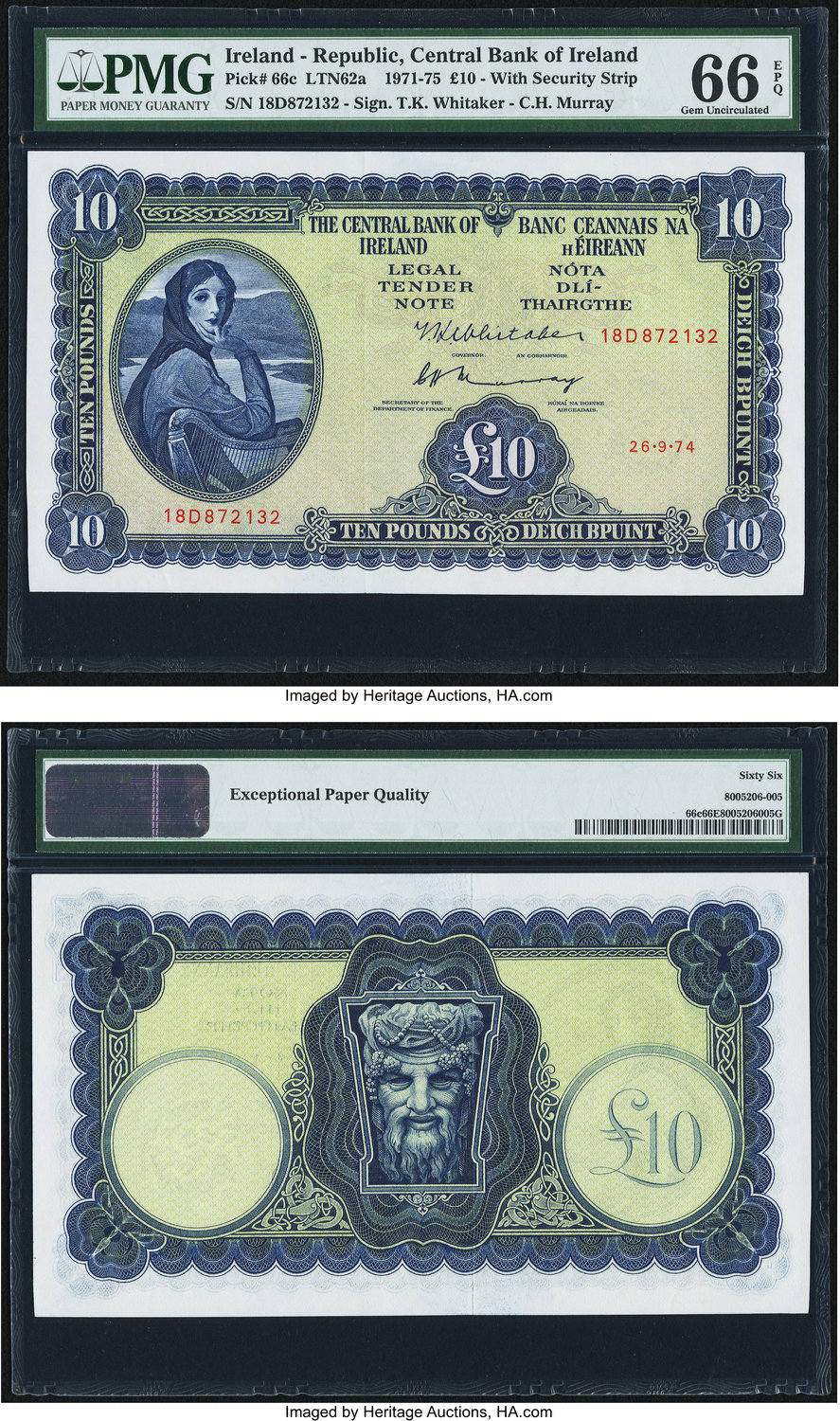 World Currency Ireland Central Bank Of 10 Pounds 26 9 1974 Pick 66c A Beautiful Large Sized Middle