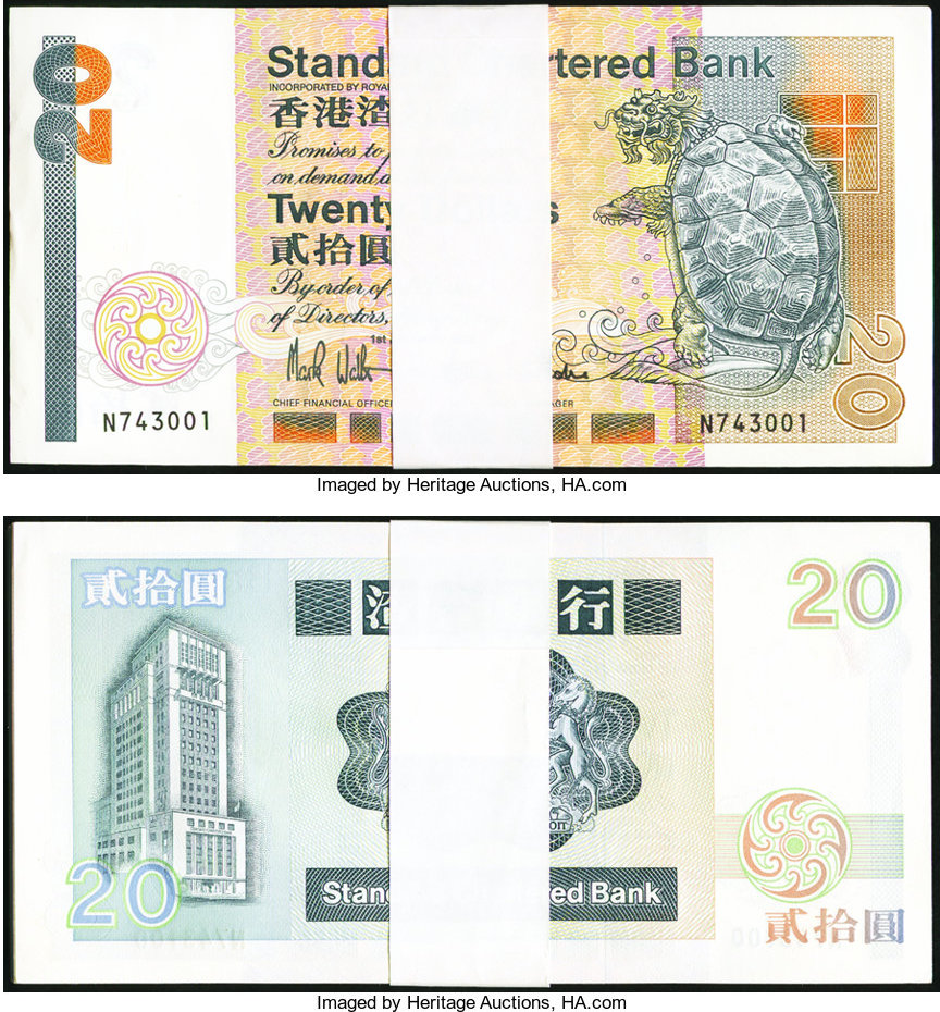 World Currency Hong Kong Standard Chartered Bank 20 Dollars 1 1992 Pick 279b Pack Of 100 Some Minor Edge Bends May
