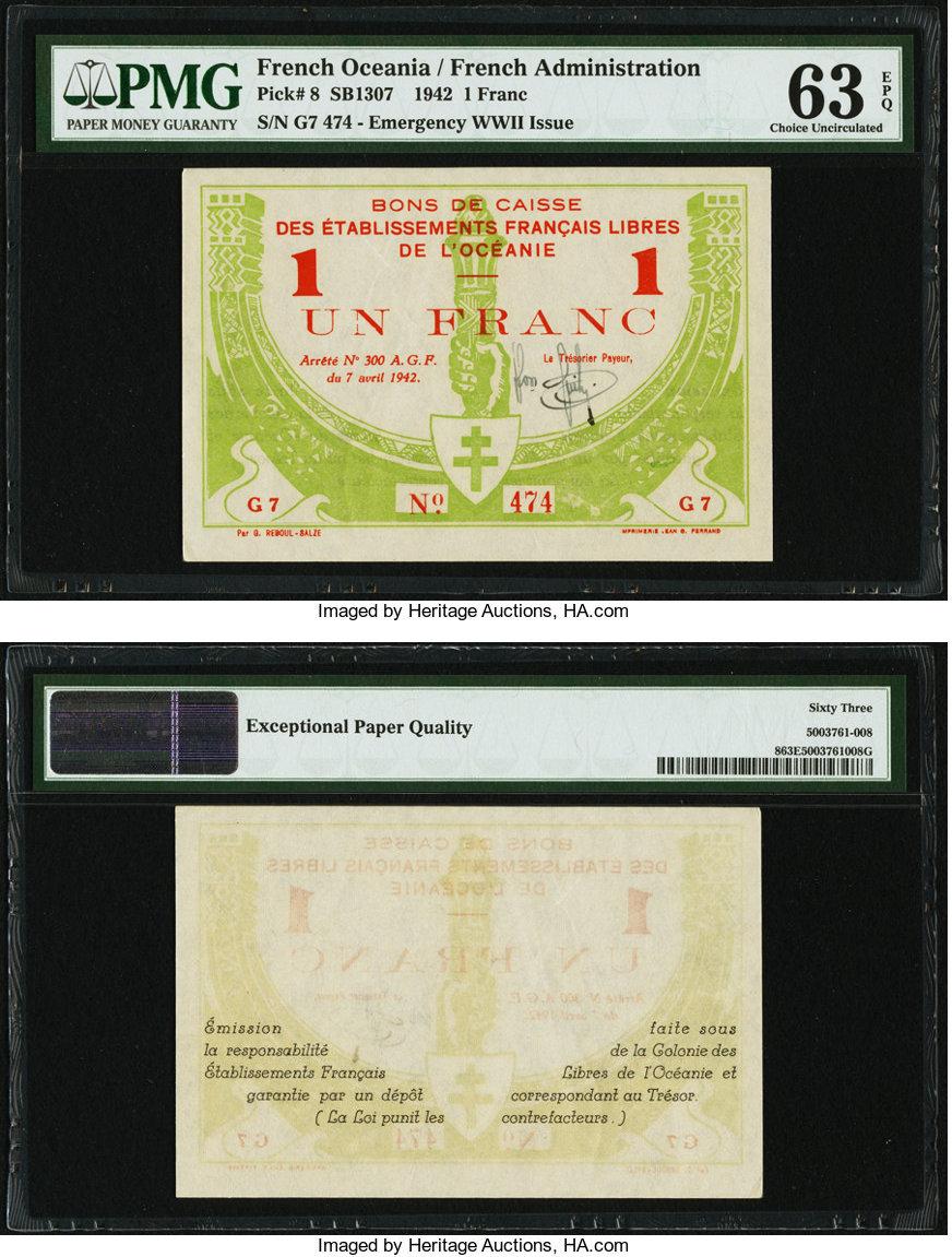 Choice BU 1948 Reunion 1 Franc