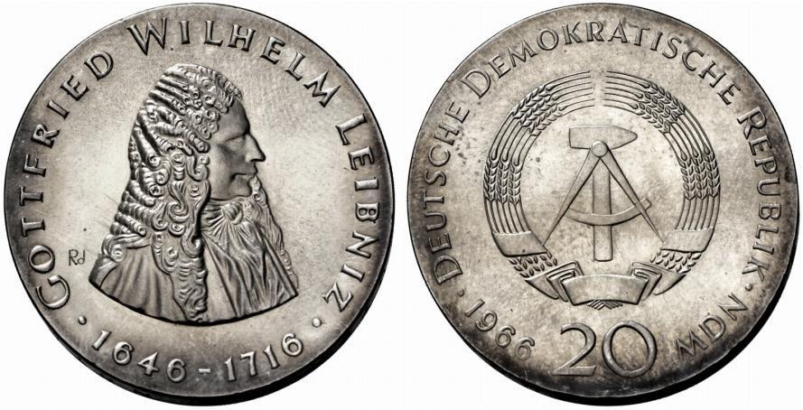 deutsche demokratische republik berlin 20 mark 1966 ohne mzz zum 250 todestag von gottfried wilhelm leibniz und j