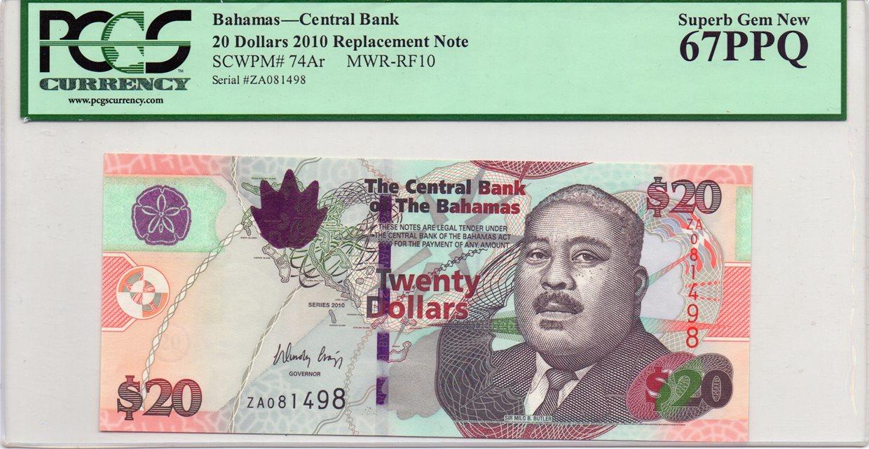 Bahamas 20 Dollars 2010 Seri Za Replacement P 74ar Pcgs67 Unc Sir Milo B Butler At Right Signature W Craigg