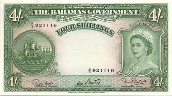 Bahamas 4 Shillings Nd 1953 P 13b Exf Green Ship Seal At Left Portrait Queen Elizabeth Ii Right