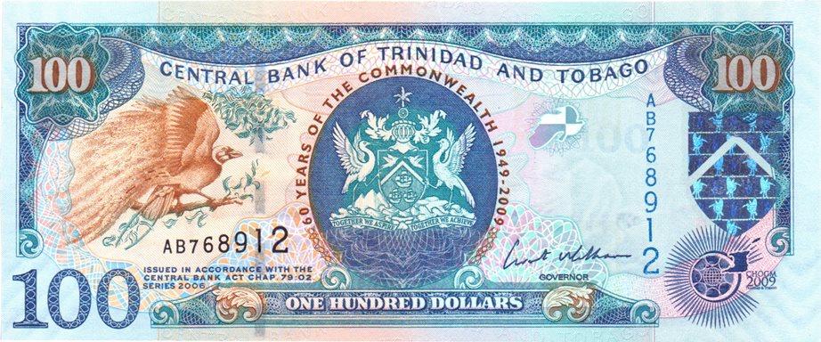 P-52 2009 Commemorative,Banknotes Trinidad and Tobago 100 Dollars UNC