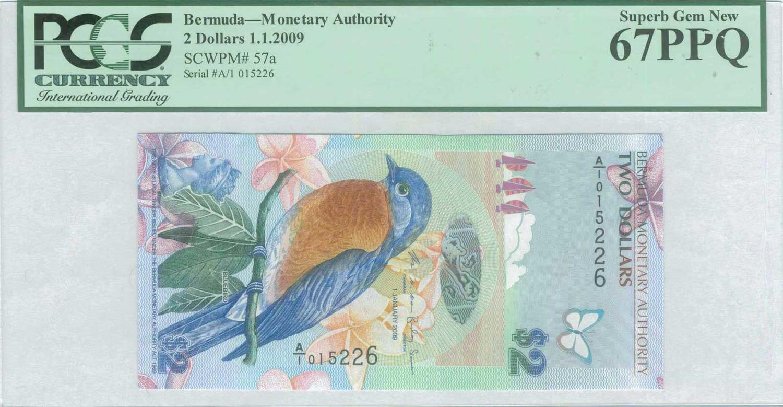 Bermuda P-57 Two Dollars Year 1.1.2009 BlueBird Uncirculated Banknote