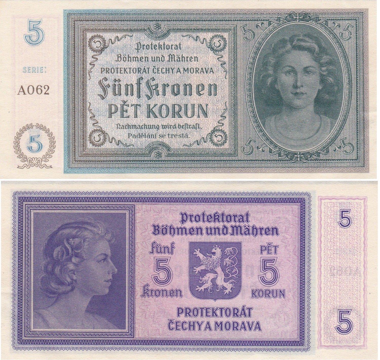 CZECHOSLOVAKIA 5 KORUN P 59 SPECIMEN 3 DOTS UNC