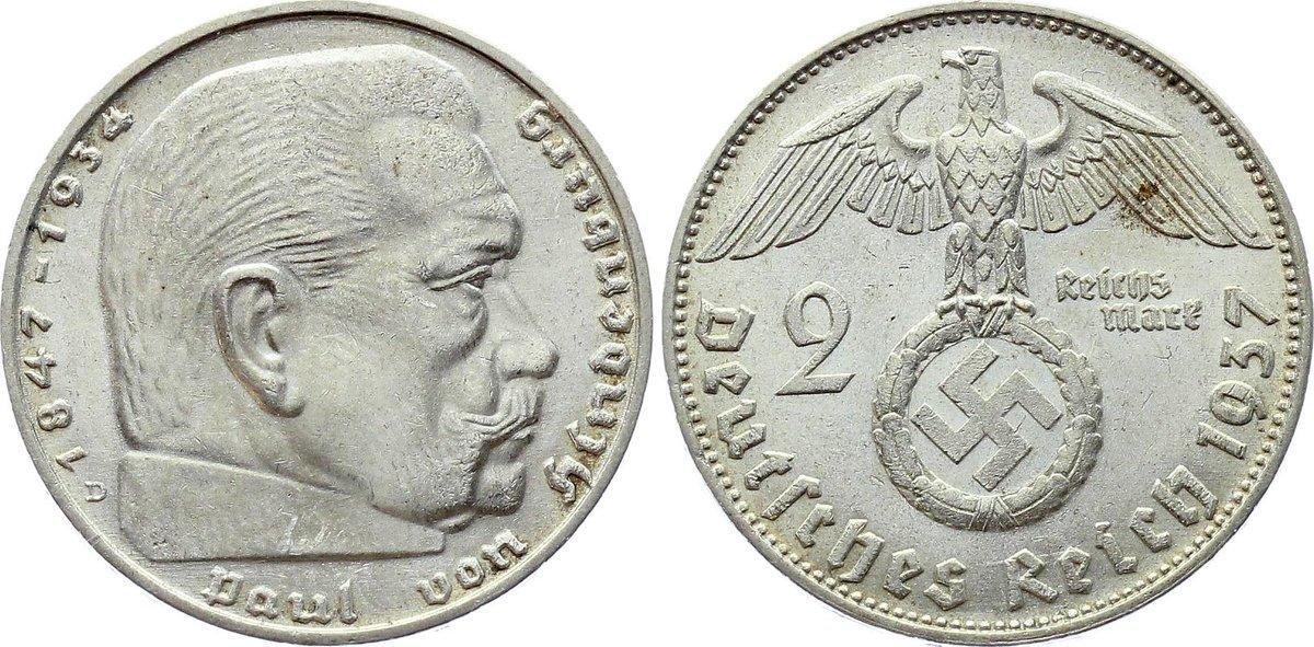2 pfennig with Swastika #84 1 Original Set of German coins 2 Reichsmark