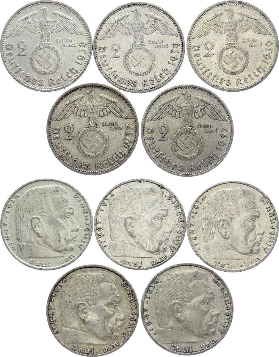 10 pfennig  with Swastika-42 2 5 Set of Germany  8 coins 1 2 Reichsmark