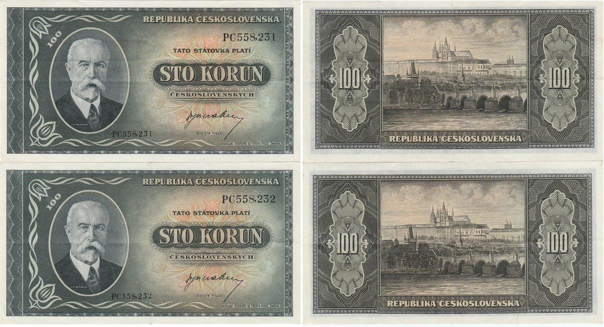 Pick 63s CZECHOSLOVAKIA 100 Korun 1945 SPECIMEN UNC