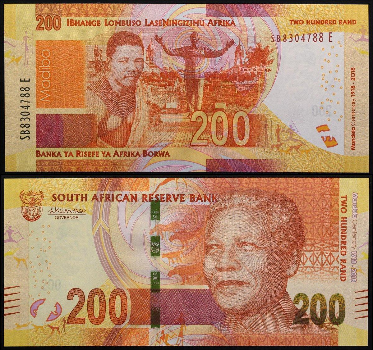 10 20 50 100 200 Rand 2018 South Africa Set 5 PCS 100th COMM UNC
