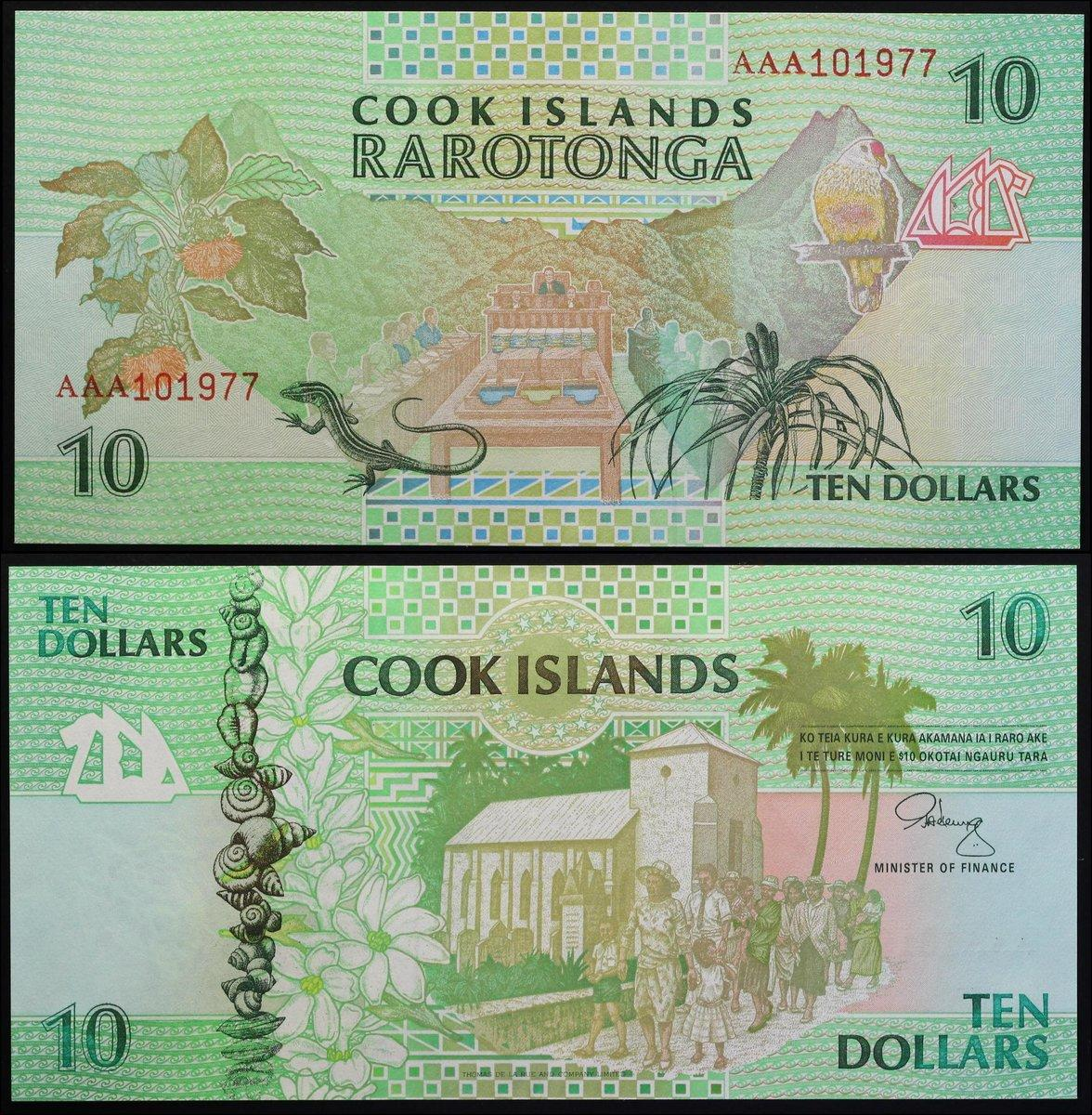 1992 AAA Prefix UNC P-8 Cook Islands 10 Dollars ND