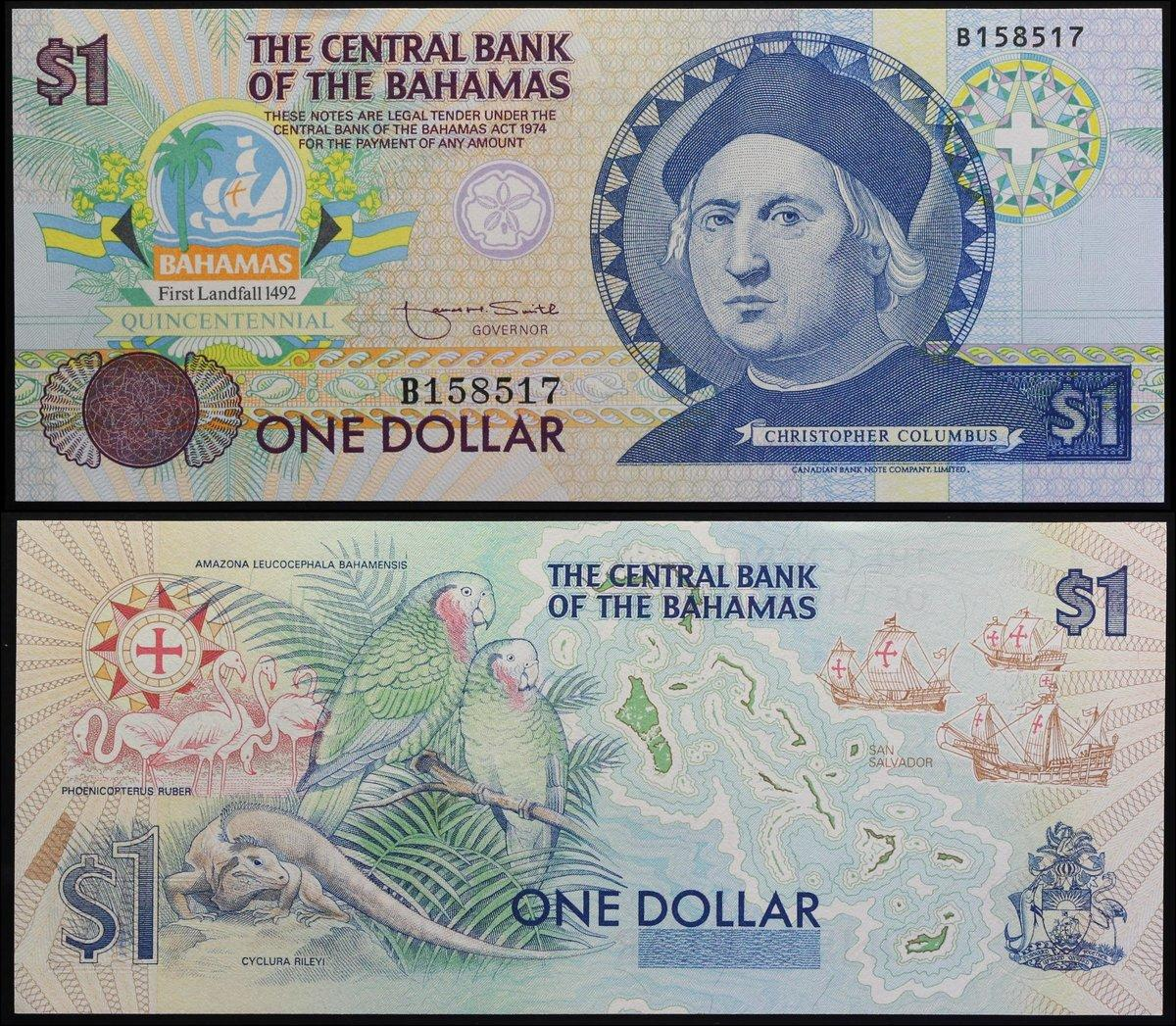 BAHAMAS $1 Dollar 2017 P77 Prefix A UNC Banknotes