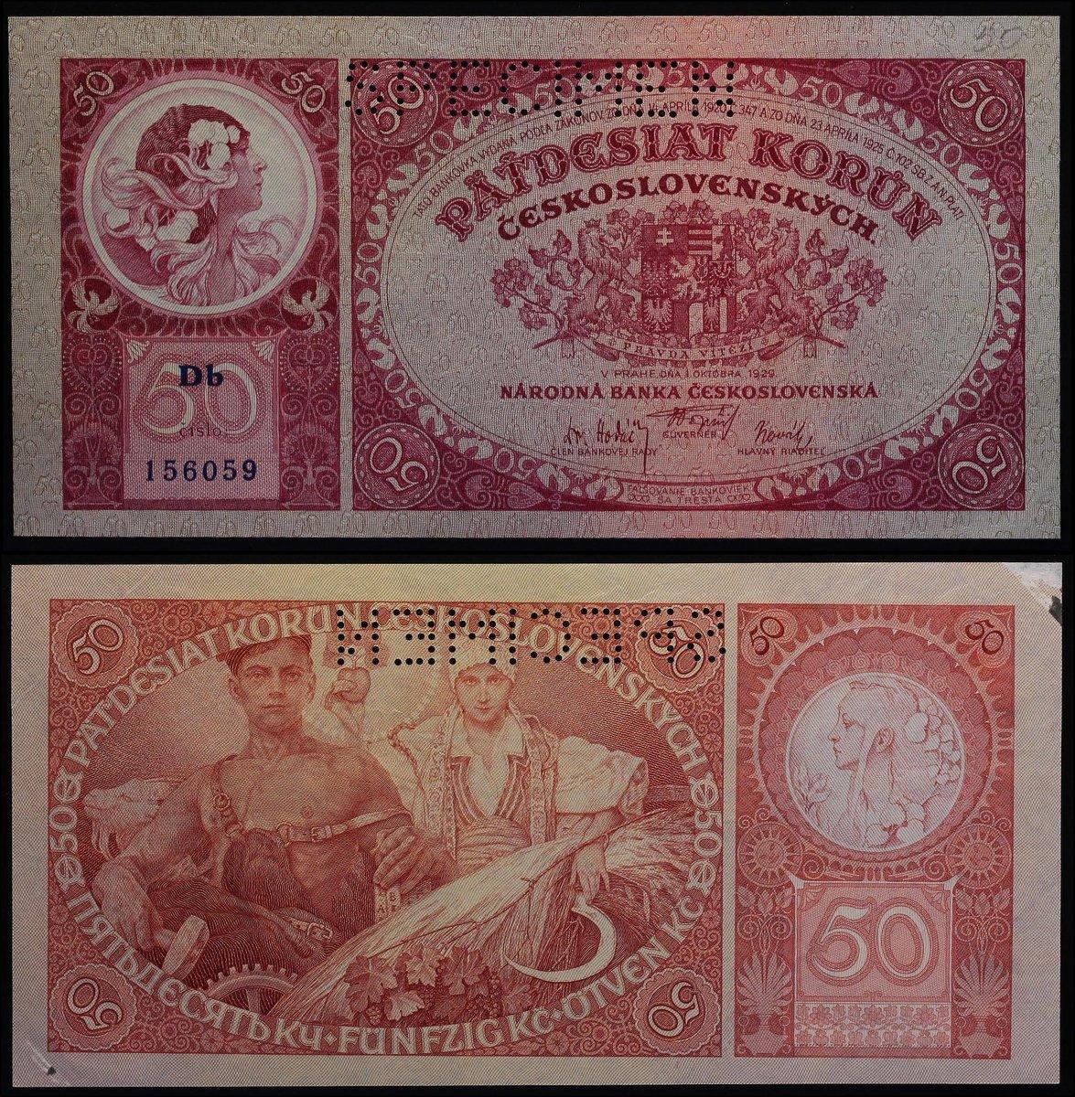 CZECHOSLOVAKIA 5000 5,000 KORUN 1920 STAMP P 16s SPECIMEN UNC